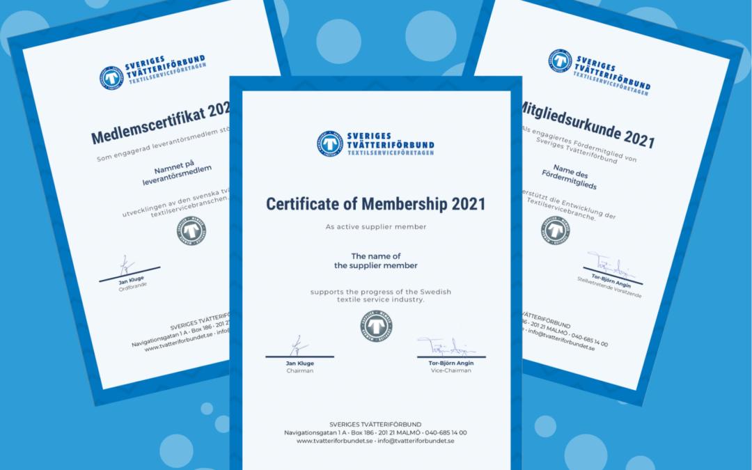 Medlemscertifikat för våra leverantörsmedlemmar